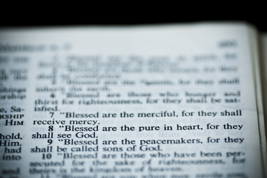The New American Standard Bible Open To Matthew 5:8, The Sermon On The Mount (The Beatitudes)