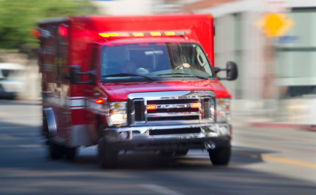 Ambulance hurrying through city streets