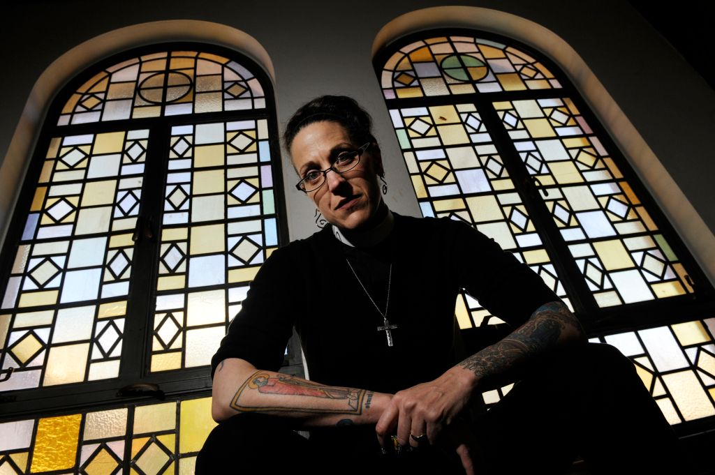 Nadia Bolz-Weber poses for a portrait, Friday, April, 22, 2011, at St. Thomas Episcopal Church in Denver, CO, where her church will begin holding sevices May 1, 2011. Nadia, of House For All Sinners and Saint, a is a rising star in the emergent church, ve