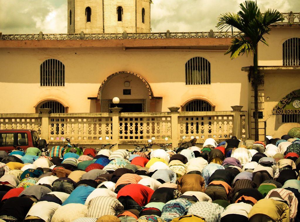 Muslims in the friday prayer. (Vintage version).