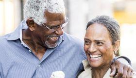 Senior Black Couple on Christmas Date