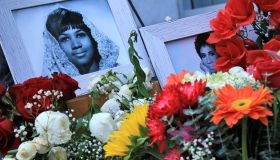 Floral tributes at Aretha Franklin's Hollywood Walk of Fame star