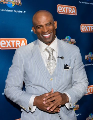 Deion Sanders And Leah Remini At 'Extra'