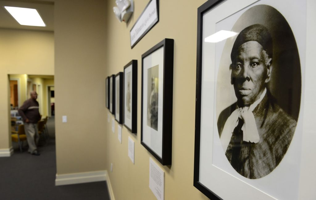 CAMBRIDGE, MD - MARCH 5: Portraits of Harriet Tubman hang in
