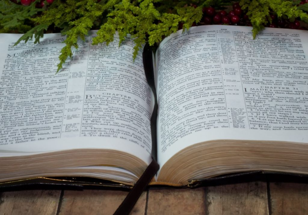 Opened Holy Bible with Christmas Garland on wood plank board