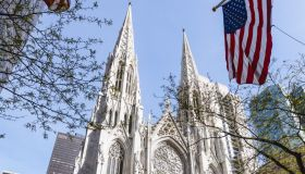 USA, New York State, New York City, St Patricks Cathedral seen across street