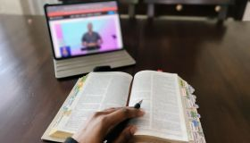 Woman Watches Online Church Service
